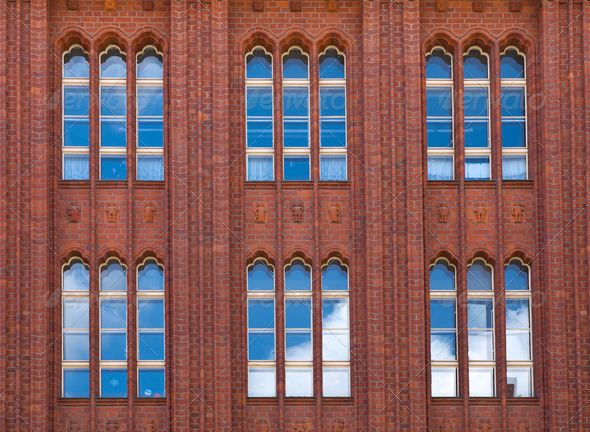Brickwall facade with reflections - Stock Photo - Images