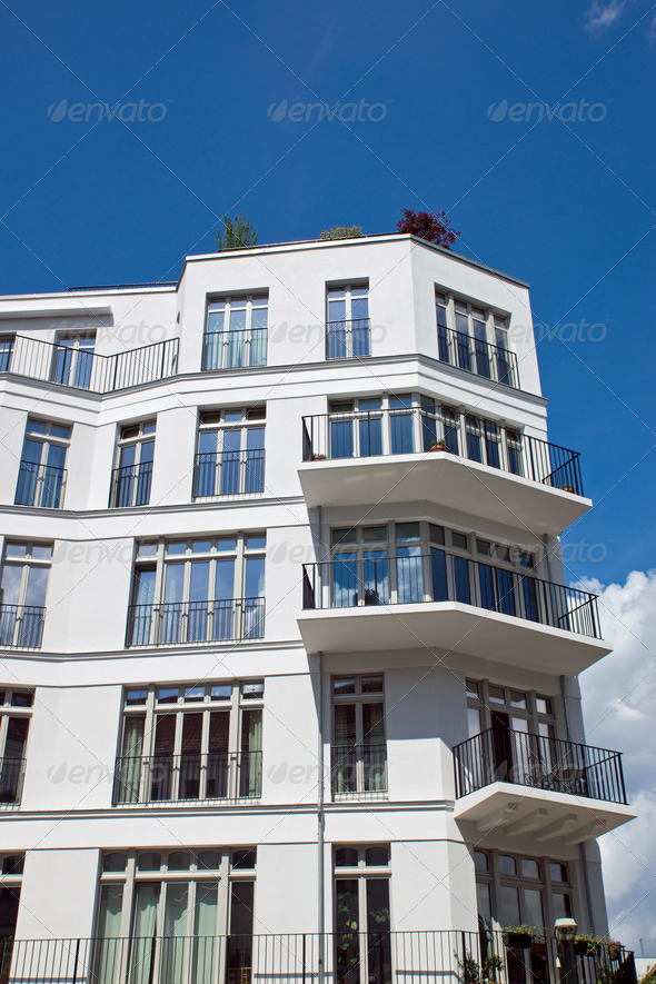 Modern white townhouse  - Stock Photo - Images
