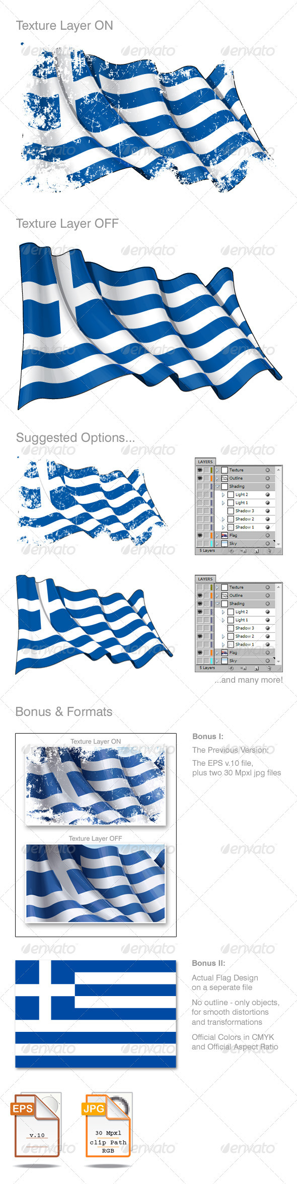 Grunge Greek Flag - Man-made Objects Objects