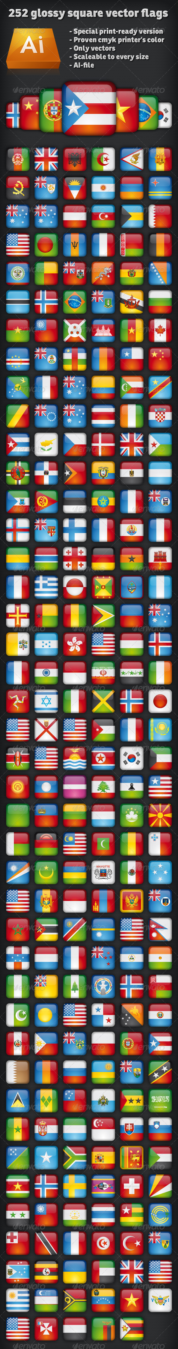 Ultimate 252 glossy square vector flags - Web Technology