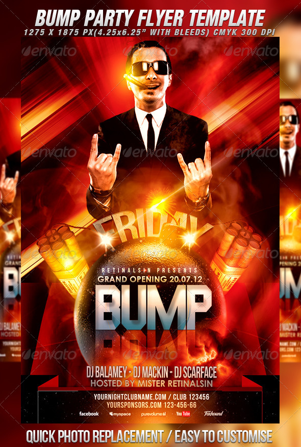 Bump Party Flyer Template By Mexelina | Graphicriver