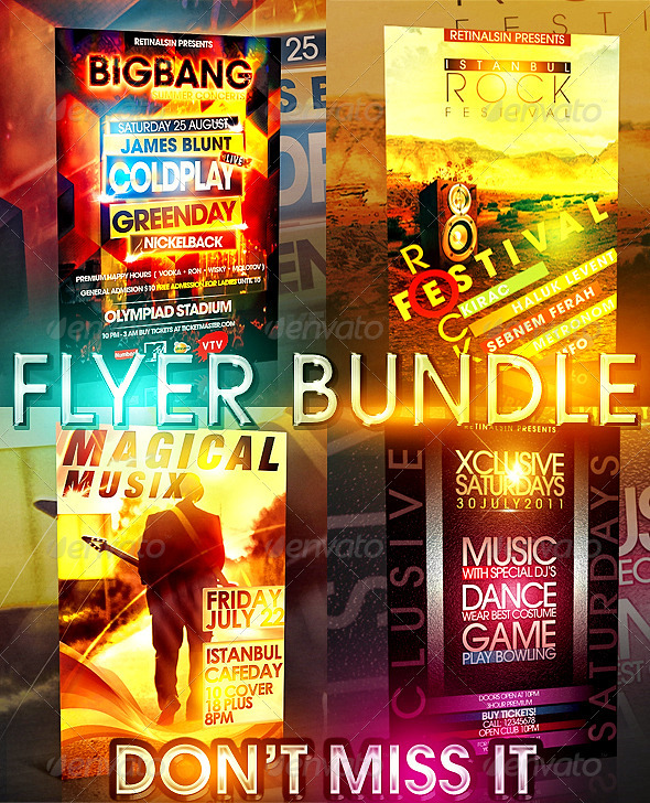 Big Bang Flyer Bundle 4 in 1 - Clubs & Parties Events