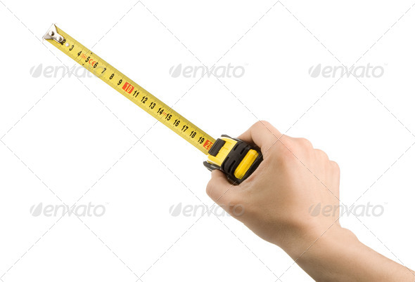 hand and tape measure isolated on - Stock Photo - Images