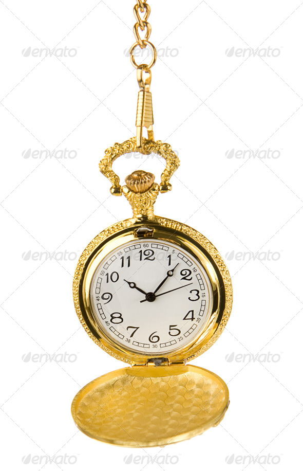 old pocket watch isolated on white - Stock Photo - Images