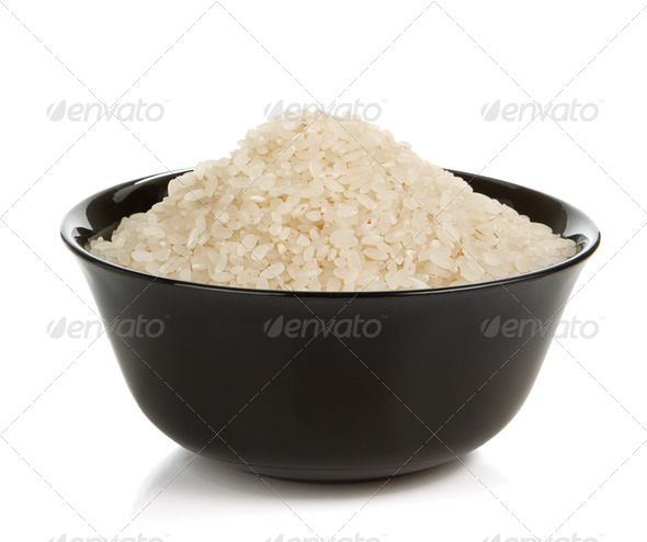 rice in plate isolated on white - Stock Photo - Images