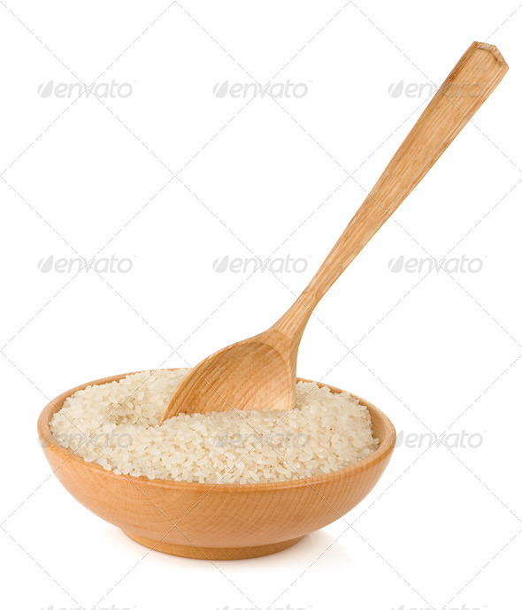 rice in wooden plate and spoon isolated on white - Stock Photo - Images