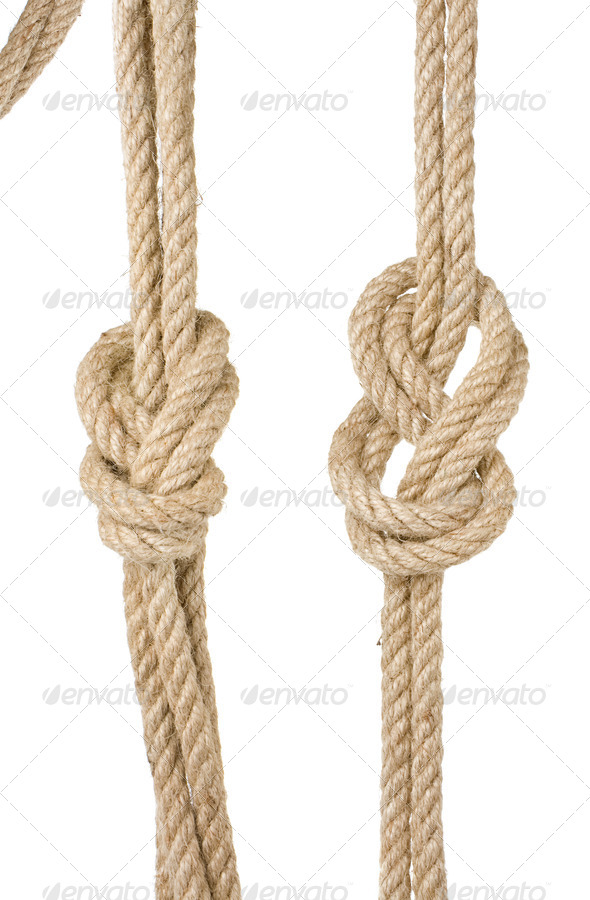 ship ropes with a knot isolated on white - Stock Photo - Images
