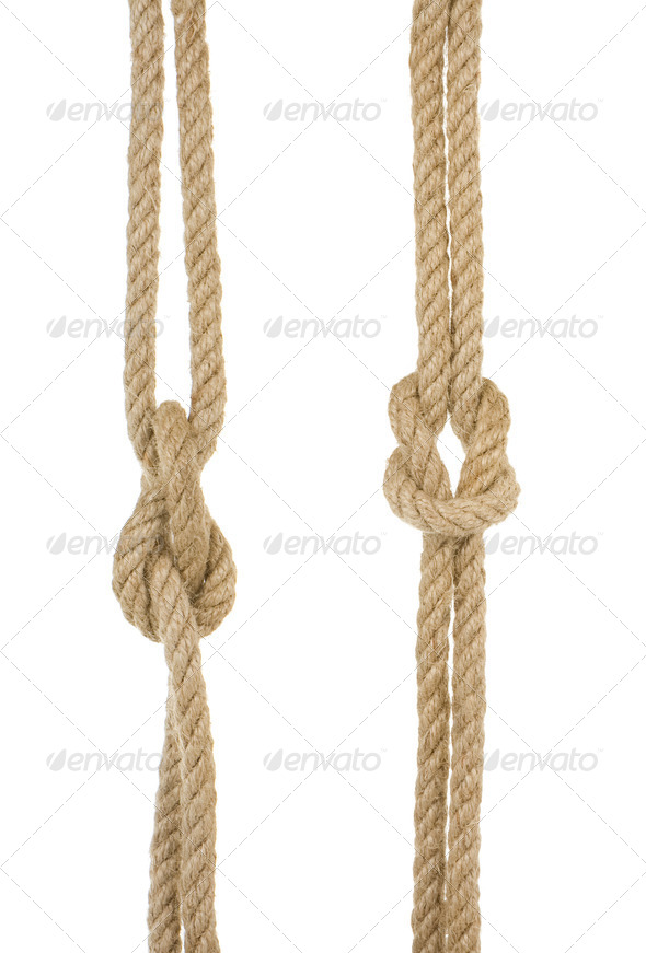 ship ropes with knot isolated on white - Stock Photo - Images