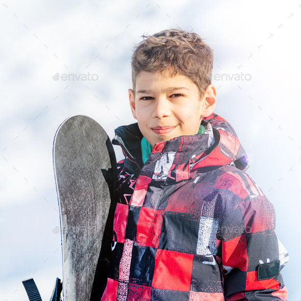 Portrait of Boy with Snowboard - Stock Photo - Images