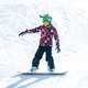 Cute Boy Having Fun, Snowboarding in the Mountains - PhotoDune Item for Sale