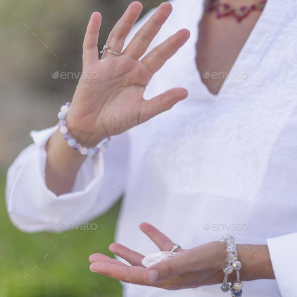 Manifesting Abundance, Mindful Meditation with Crystals - Stock Photo - Images