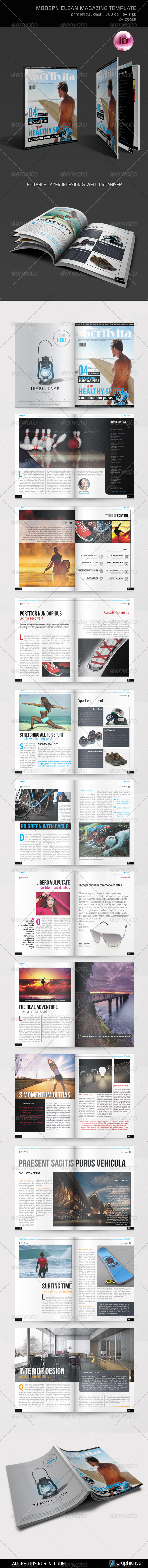 Modern Clean Magazine Template - Magazines Print Templates