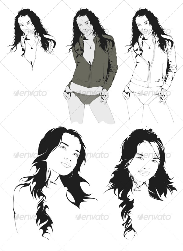 Beautiful Young Girl, Vector Portrait - People Characters