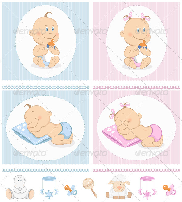 Baby Arrival Announcement Set With Toys - People Characters