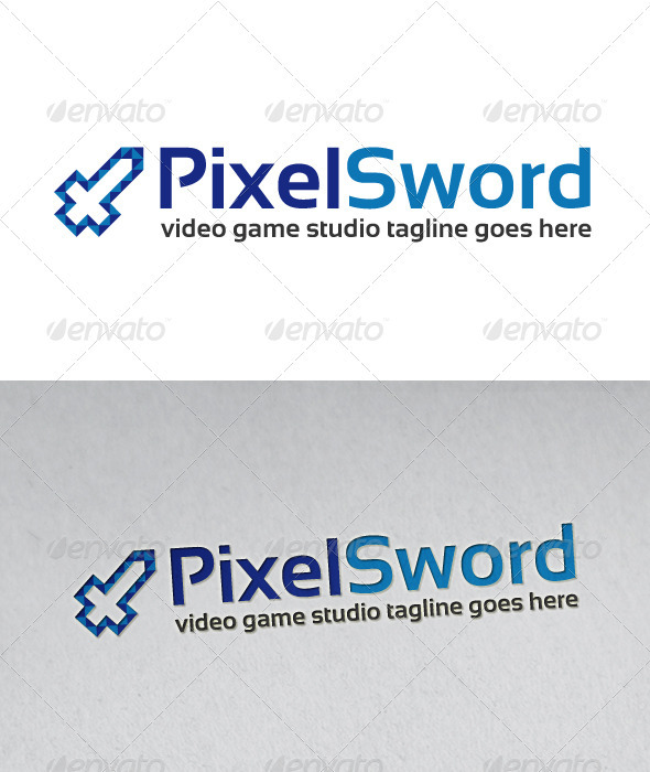 Pixel Sword Logo - Vector Abstract