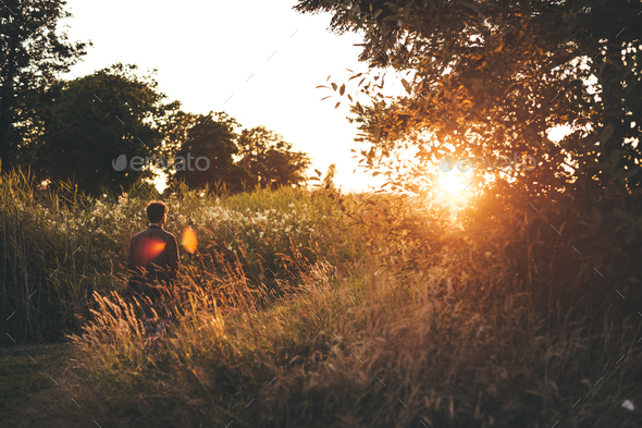 Rear view of man walking on grassy field during sunset - Stock Photo - Images