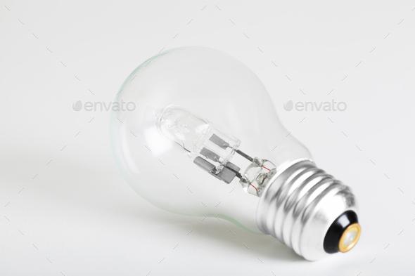 Close-up of light bulb on white background - Stock Photo - Images