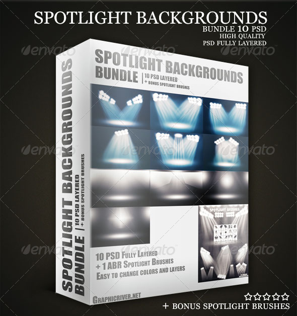 Stadium Spotlights Backgrounds PSD Bundle - 3D Backgrounds