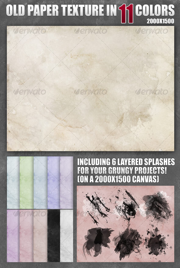Old Paper Texture in 11 Colors - Backgrounds Graphics
