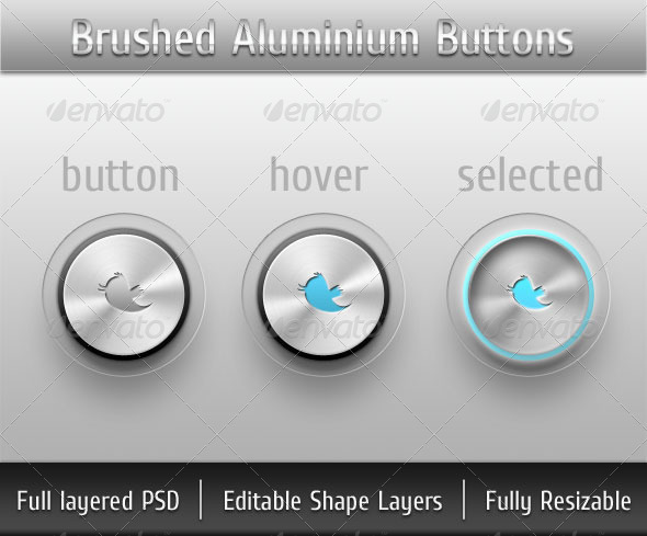 Brushed Aluminium Buttons - Buttons Web Elements