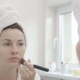 Beauty And Skin Care Concept Female Is Applying Foundation On Her Face - VideoHive Item for Sale