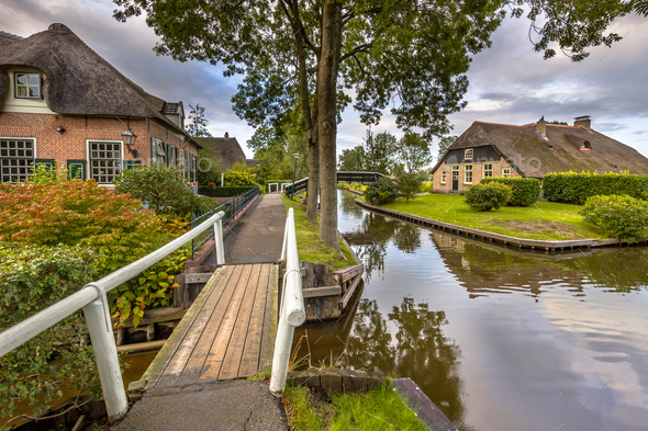 Canals in Giethoorn Village - Stock Photo - Images