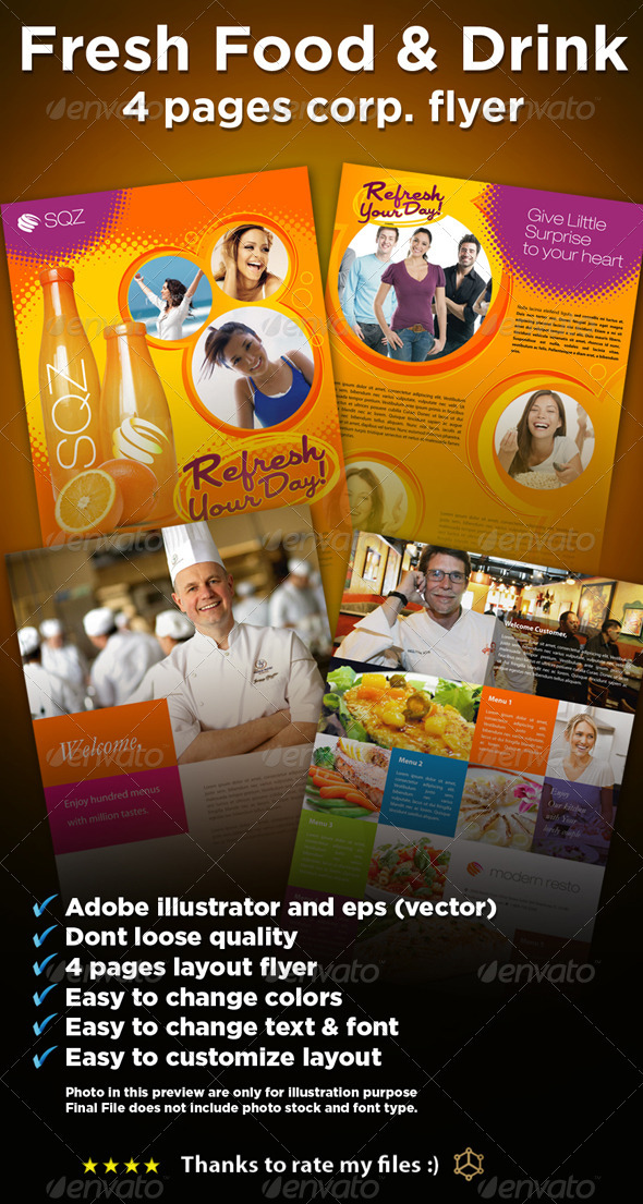 4 fresh Food_Drink flyers - Restaurant Flyers