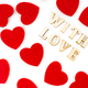 lettering of word With Love. Red heart and love word seamless pattern. - PhotoDune Item for Sale