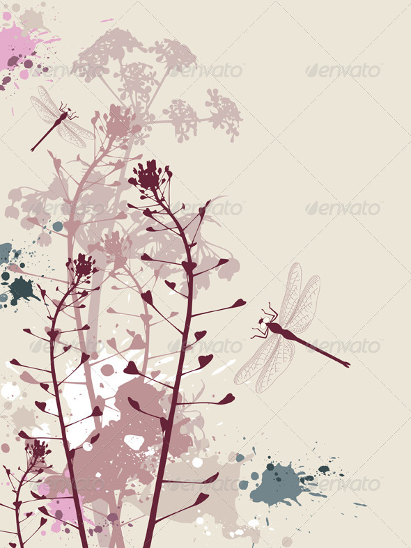 Grunge Background with Flowers and Dragonfly - Flowers & Plants Nature