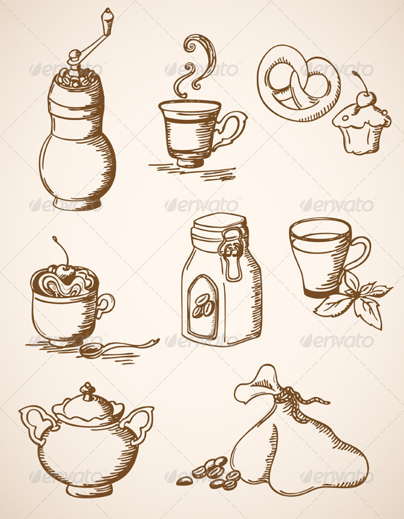 Hand Drawn Vintage Coffee Icons - Food Objects