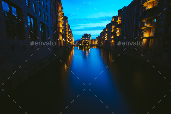 Wide perspective of Warehouse District - Speicherstadt in twilight. Blue hour. Tourism landmark of - Stock Photo - Images