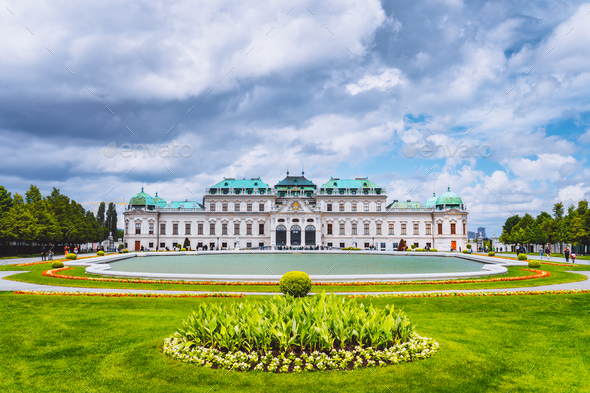 Belvedere palace Vienna Austria with spring flowers and cloudscape - Stock Photo - Images