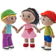 Knitted toys boys and girl on a white background - PhotoDune Item for Sale