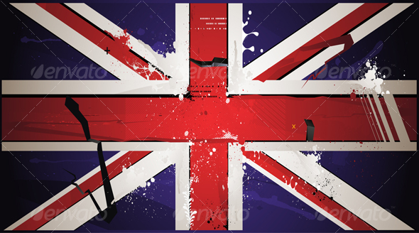 The British Flag is Drawn With Paint, Grunge - Backgrounds Decorative