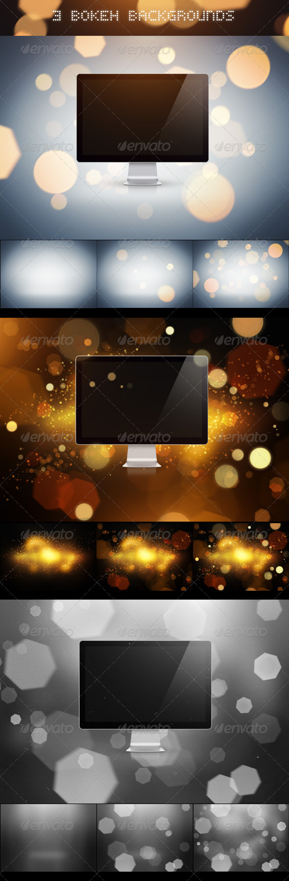 3 Bokeh Backgrounds