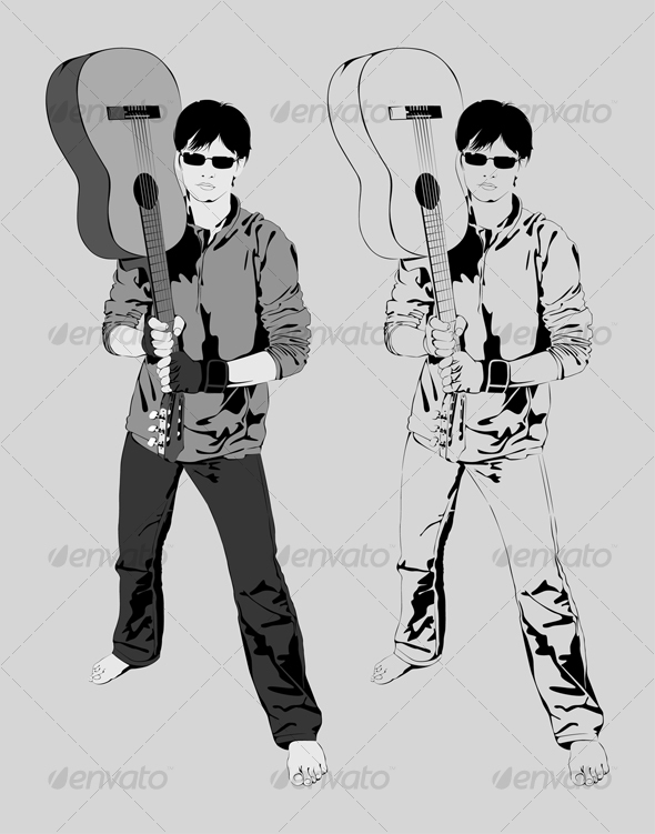 Vector Illustration Young Guy with a Guitar, Music - People Characters