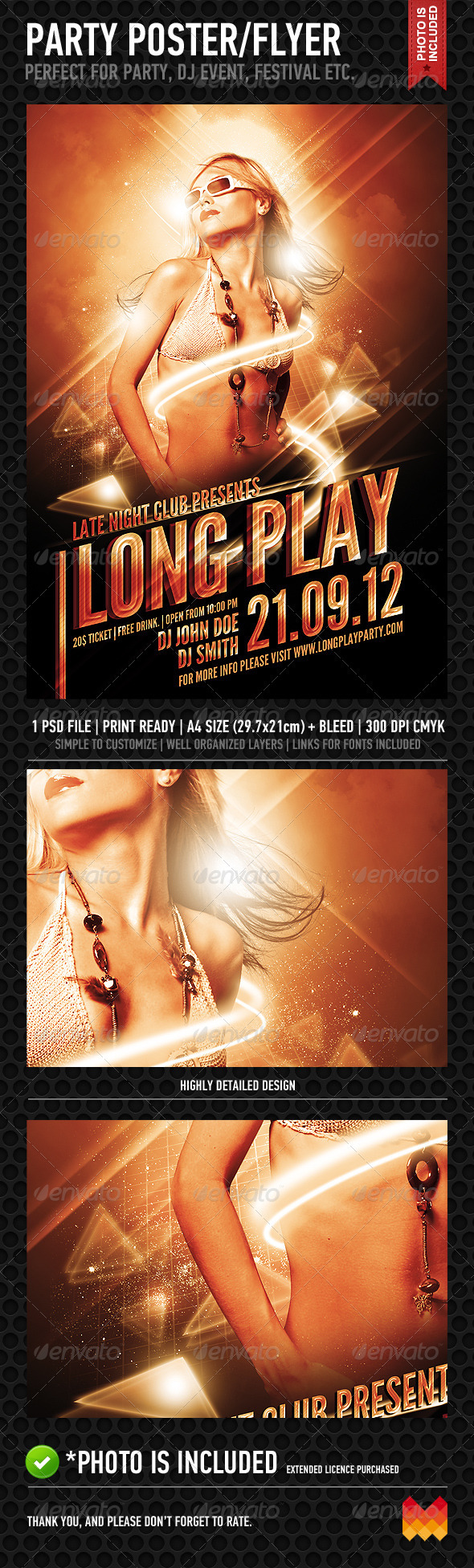 Long Play Party Poster/Flyer - Clubs & Parties Events