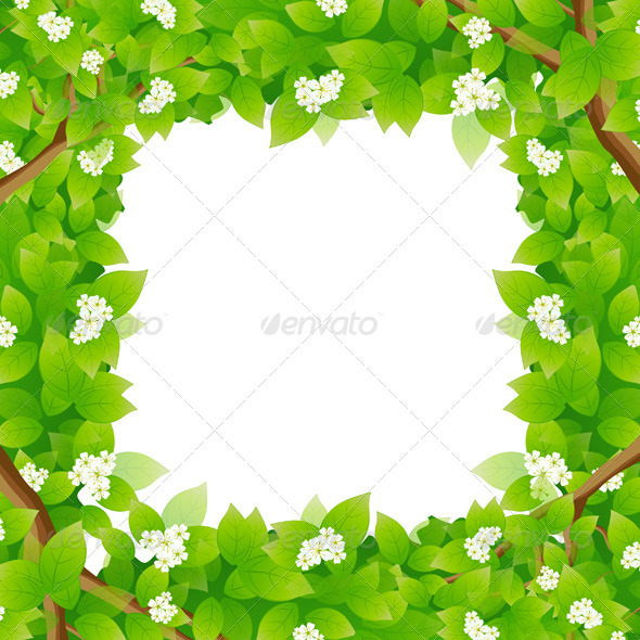 Leaves Framing a Message Area - Borders Decorative