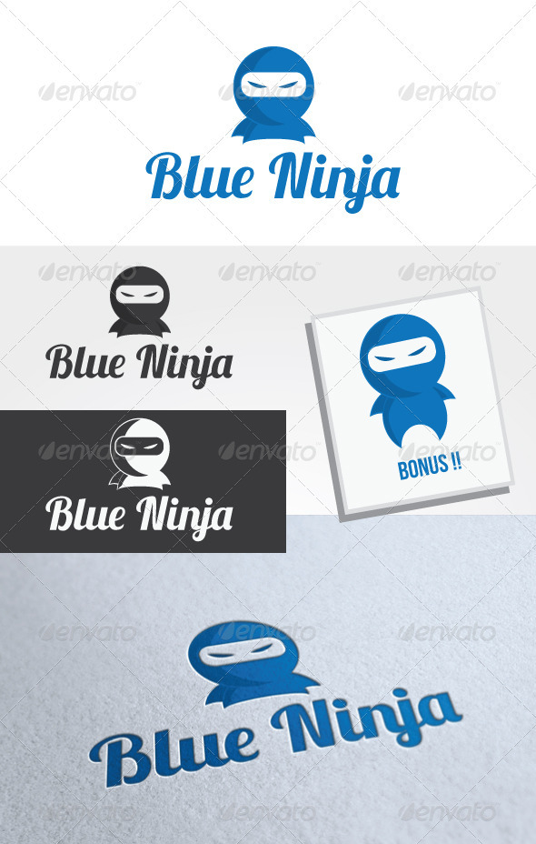 Blue Ninja Logo Template - Humans Logo Templates
