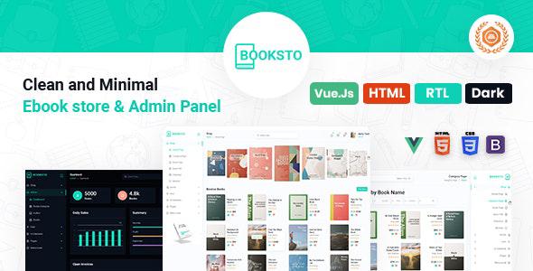 Booksto - VueJS, HTML Minimal Ebook Admin & Shop Template