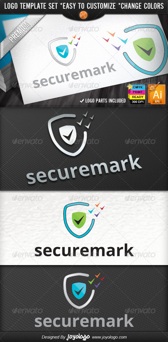 Pixel Marks Internet Security Check Logo Design - Symbols Logo Templates