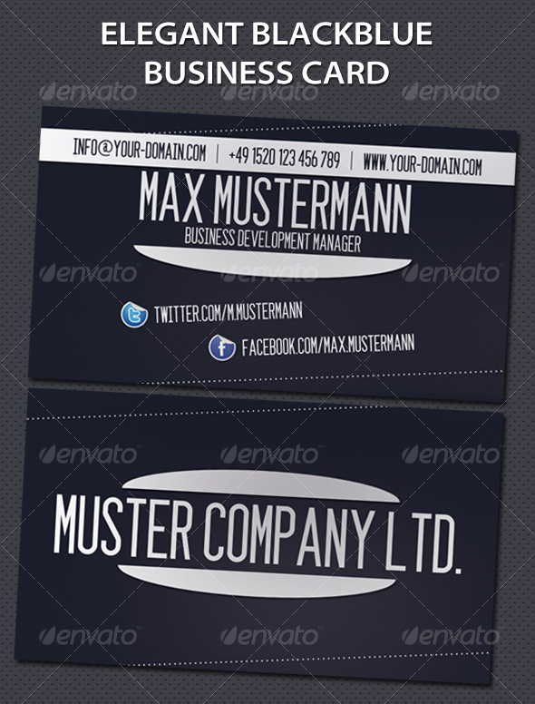 Elegant Blackblue Business Card - Corporate Business Cards