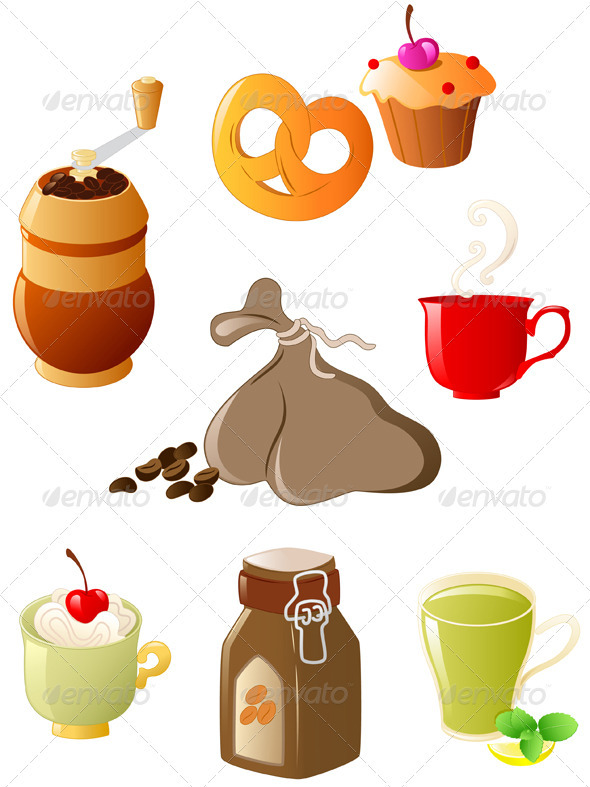 Set of Coffee and Tea Icons - Food Objects