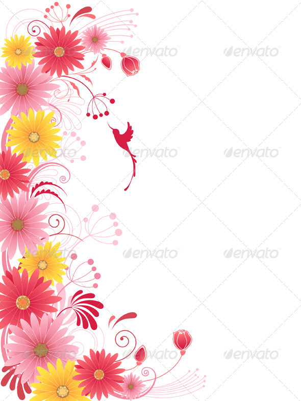 Floral Background with Red Flowers - Flowers & Plants Nature