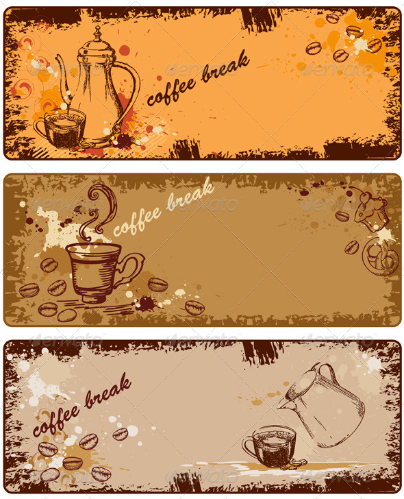 Set of Coffee Banners - Backgrounds Decorative