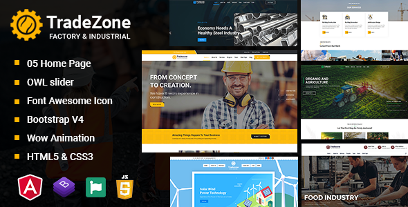 TradeZone - Industry One Page Angular Template
