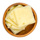 Emmental cheese slices, folded slices of Swiss cheese in wooden bowl - PhotoDune Item for Sale