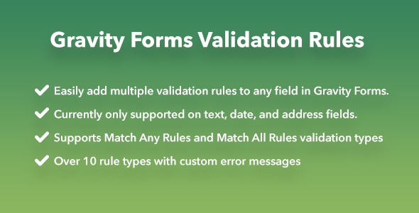 Gravity Forms Validation Rules