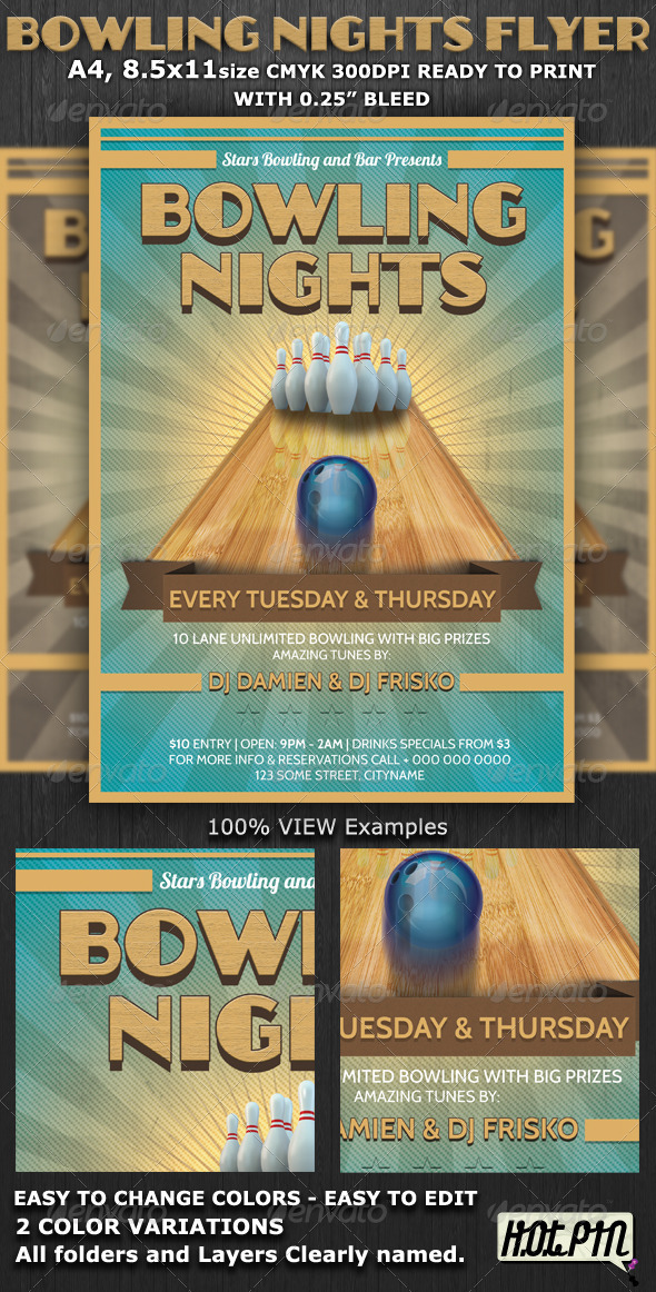 Bowling Nights Party Flyer Template - Events Flyers