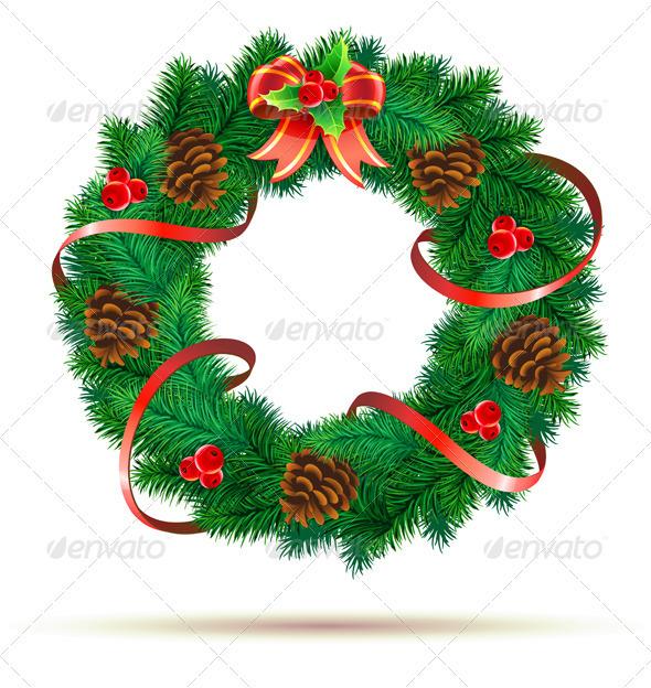 Green wreath - Christmas Seasons/Holidays